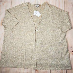J Jill Brown Cardigan Curry Linen Pockets Sweater